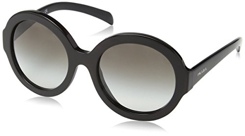 Prada Women's Rounded Sunglasses, Black/Grey Gradient, One - Prada Sunglasses Oversized Round