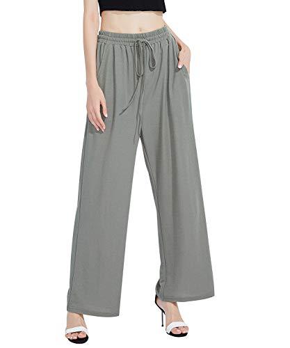 Women Linen Wide Leg Pant Casual Loose Soft Breathable Elastic Waist Beach Pants Palazzo TrouserFKZ3CS_XAG_L