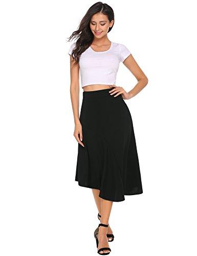 Zeagoo Women's Asymmetrical High Low Elastic Waist Skirt Black M -