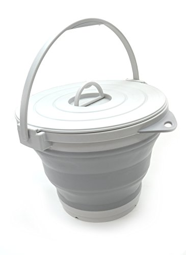 SAMMART 10L (2.64Gallon) Collapsible Fishing Bucket with Locking Lid, 31cm Dia. (Grey)