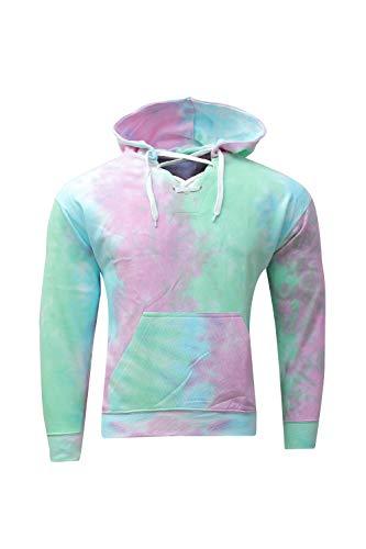 Kara Hub Unisex Pastel Color Long Sleeve Pullover Tubular Drawcord Tie Dye Hoodie Sweatshirt (Small, Seafoam Pink) -