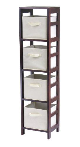 Winsome Wood Capri Wood 4 Section Storage Shelf with 4 Beige Fabric Foldable Baskets