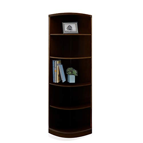 Mayline SBQ5ESP Sorrento Quarter Round Corner Bookcase, 5 Shelf, Espresso Veneer - Sorrento Series File