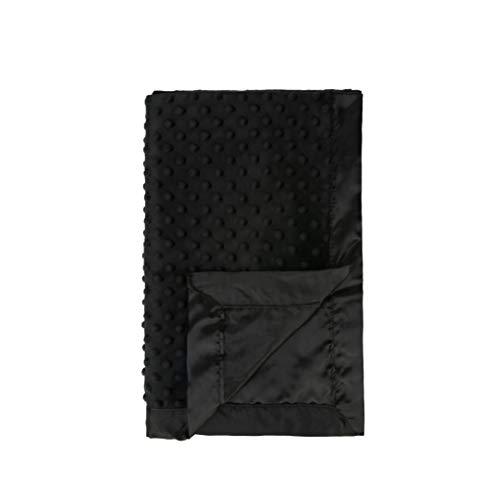 Pro Goleem Baby Minky Dot Blanket with Satin Backing Best Thanksgiving Day Gift for Boys and Girls (Black, 30'' x 40'') from Pro Goleem