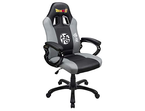 Gaming bucket seat – DBZ gamer armchair with ergonomic seat – Swivel office and game chair – Official Dragon Ball Super license – Black and grey