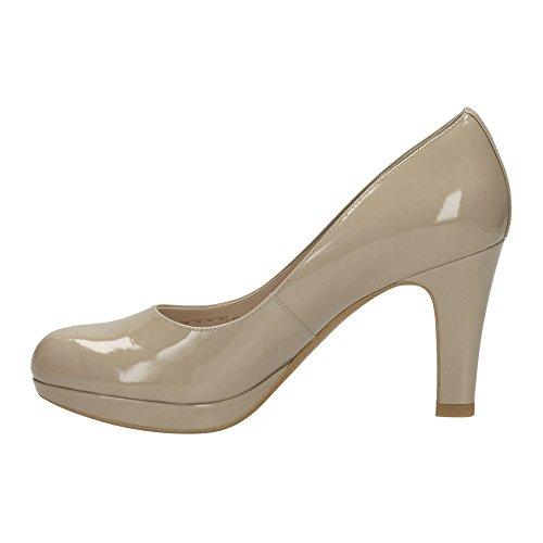 Scarpe decoltè donna pelle vernice beige sabbia plateau CLARKS comode