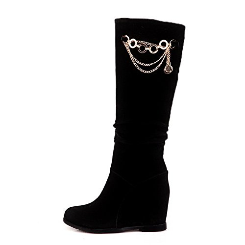 AmoonyFashion Womens kitten Boots heels PU Frost PU Solid Boots kitten Heighten Inside Metalornament, Black, 5 B(M) US B00S4OIIU8 Shoes dfc021