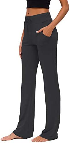 Womens Yoga Pants with Pockets Straight-Leg Loose Comfy Modal Drawstring Lounge Running Long Active Casual Sweatpants