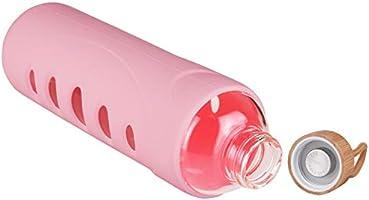 DEARRAY Botella de Agua de Cristal de Borosilicato Deportivo 400ml 1000ml Botella de Agua de Vidrio con Funda de Silicona y Tapa de Bamb/ú /Único 1 Litro