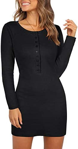 Berryou Women's Casual Front Button Long Sleeve Slim Dresses