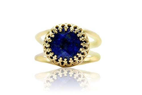 Flattering 4CT Lapis Lazuli Ring by Anemone Jewelry - Stunning Lapis Lazuli in 14K Gold-filled Band - Blue Ring for Any Occasion - Intricate 14k Gold Rings for Women - Handmade with Free Box
