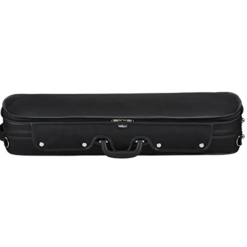 ADM Professional Sturdy Violin Case 4/4 Full Size, Oblong Wooden Hard Case for Good Violin with Hygrometer, Lock, Spacious Compartments and Adjustable Straps, Leather Handle, Sturdy - Black/Blue