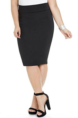 Women's Plus Size Super Scuba Pencil Skirt Black
