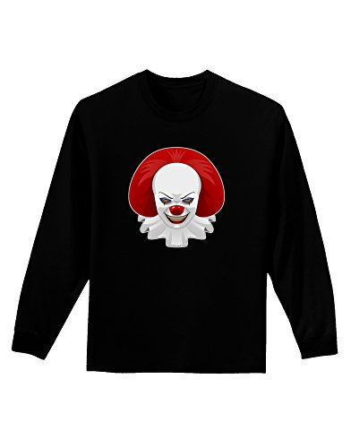 Scary Movie 2 Clown (Scary Clown Face 2 - Halloween Adult Long Sleeve Dark T-Shirt - Black - Small)