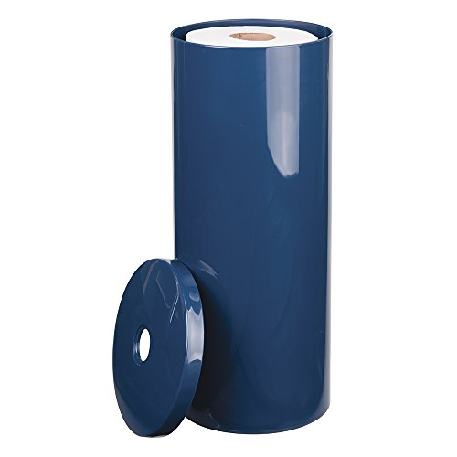 mDesign Free Standing Toilet Paper Holder for Bathroom Storage - Navy (Toilet Paper Canister)