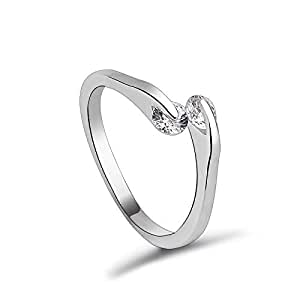 ZMC Women's Rhodium Plated Alloy Austrian Crystals Fashion Ring - S
