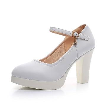 fb4b5800 Corbata con ranuras para mujer gruesas con tacón alto impermeable modelo de zapatos  individuales, talón