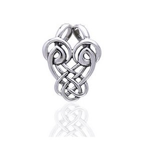 Dancing Birds Slider Sterling Silver Celtic Knot Pendant