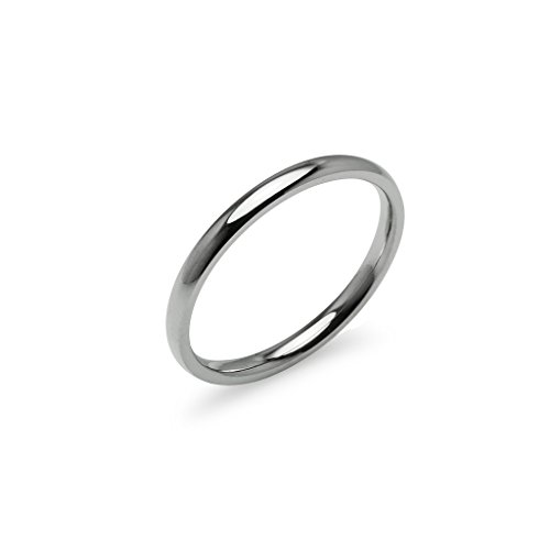Stainless Steel Sterling Silver Ring - Silver Tone High Polish 2mm Plain Comfort Fit Wedding Band Ring Stainless Steel, Size 12