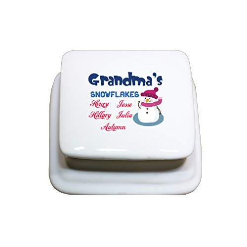 (Style In Print Personalized Custom Text Christmas Grandma's Snowflakes Snowman Porcelain Treasure Box Porcelain Jewerly Box - Square)
