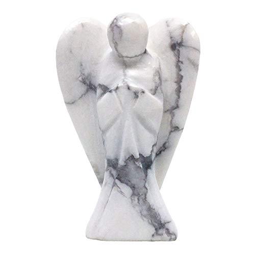 Nelson Creations, LLC Howlite Hand-Carved Natural Gemstone Crystal Healing Angel Figurine Statue, 2 Inch
