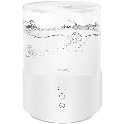 Homasy Cool Mist Humidifier Diffuser, 2.5L Essential Oil Diffuser, Top Fill Humidifier for Bedroom, Home and Office…