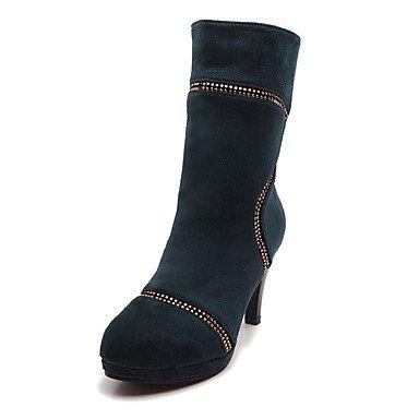 Botas de mujer invierno Gladiator polipiel vestir casual Chunky talón Rhinestone Zipper Blue