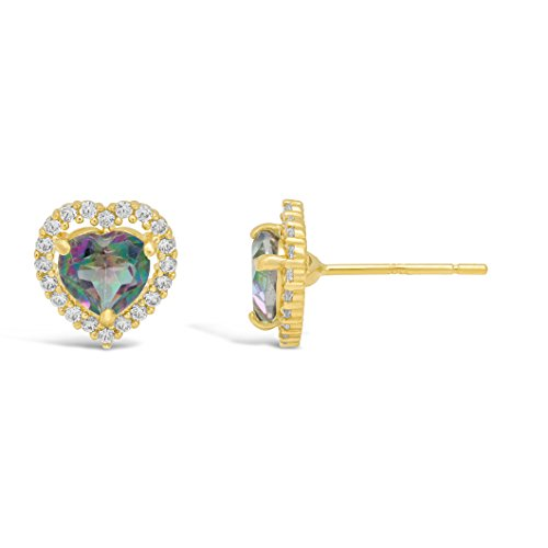 Lavari – Halo Heart 5MM Gemstone 14K Yellow Gold Stud Earrings