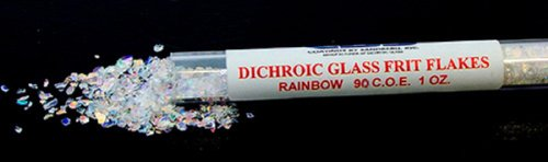 1 Oz CBS Clear Dichroic Glass Frit Flakes w Coe90 Fusible (Flakes 1 Ounce Tube)