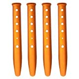 4pcs Orange Color Aluminum Tent Stakes for Camping in Snow and Sand Tent Boating Hiking Backpacking Picnic Shelter Shade Canopy Outdoor Activity