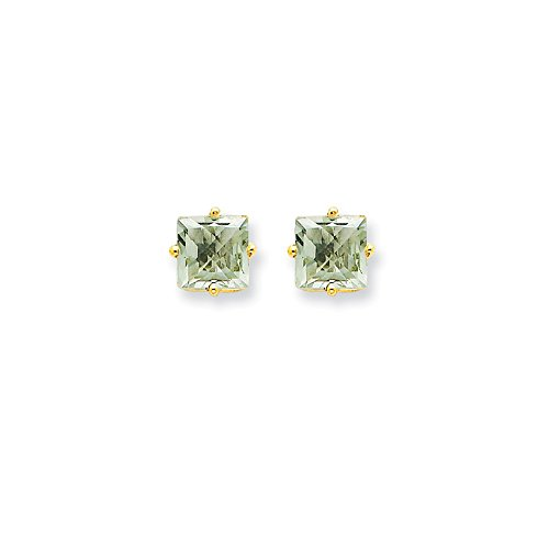 Perfect Jewelry Gift 14k 6mm Square Green Quartz (6 Mm Square Green)