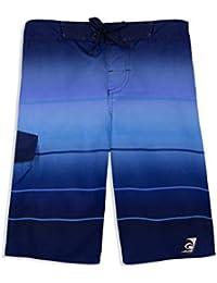 LAGUNA Boys Epic Stripe Multicolor Boardshorts Swim Trunks, UPF 50+, Blue, 18/20