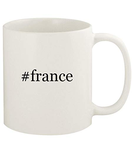 (#france - 11oz Hashtag Ceramic White Coffee Mug Cup, White )