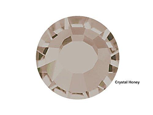 Preciosa Genuine Czech Crystals, 360pcs in size ss12 (3 mm), Crystal Honey, Viva Chaton Roses (Viva12 MC Rhinestone Flatbacks), clear with golden shadow coating, 12ss (Honey Preciosa)