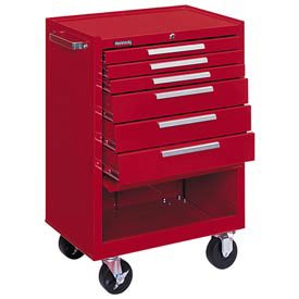 Kennedy Manufacturing 376Xr 27'' 6-Drawer Industrial Tool Storage Roller Cabinet With Chest And Wheels, Industrial Red by Kennedy Manufacturing