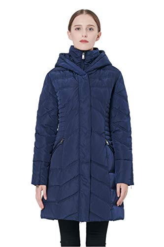 (Orolay Women's Thickened Coat Puffer Down Jacket Navy XL)