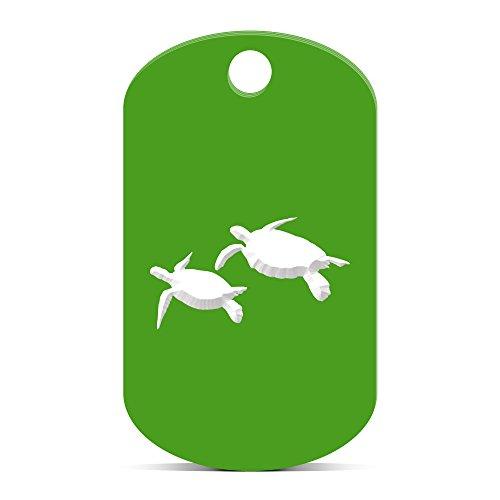 Sea Turtle Keychain GI Dog Tag engraved scuba dive turtles Green