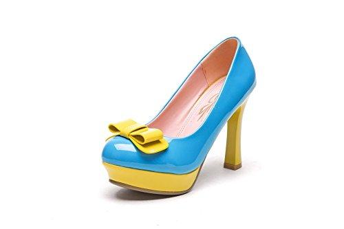 Inconnu 1TO9 pour femme à enfiler Couleurs assorties fiançailles en caoutchouc Pumps-shoes Bleu uO13mvRJ