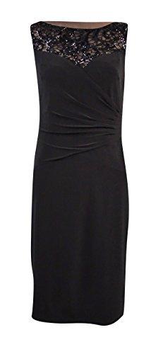 Lauren Ralph Lauren Women's Plus Sequined Top Jersey Sheath Dress (20W, Black)