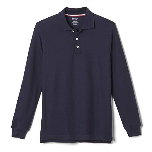 French Toast Boys' Big Long Sleeve Pique Polo Shirt (Standard & Husky), Navy, L (10/12)