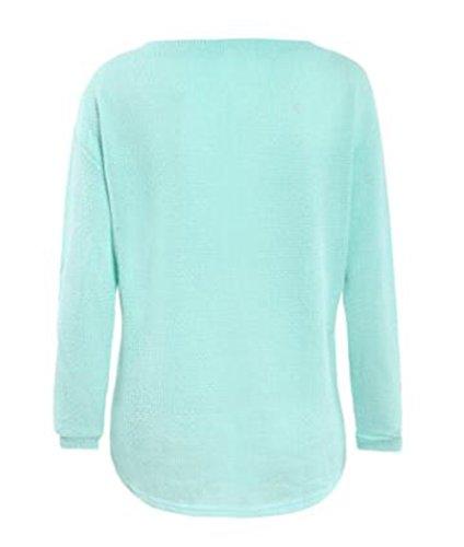 Gogofuture green Femmes Grande Taille Longues Manches Casual V Sweater Tunique Col ElGant ZTxPZqdrw