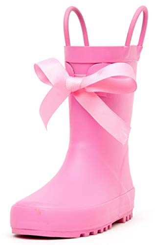 Outee Toddler Girls Little Kids Rain Boots Rubber Waterproof Shoes Pink Bowknot Cute with Easy On Handles (Size 10,Pink)