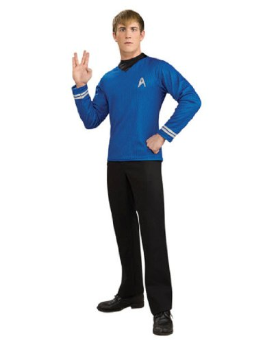 [Deluxe Dr Spock Shirt Mens Fancy Dress Star Trek Blue Uniform Adults Costume New] (Star Trek Costumes For Men)