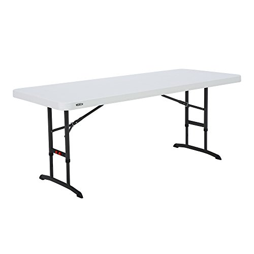 Lifetime 80565 Adjustable Height Folding Utility Table, 6-foot, Almond by Lifetime