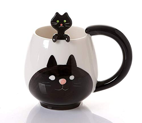 Decole Cat Mug and Spoon, 12 oz. (Cups Stoneware Coffee Japan)