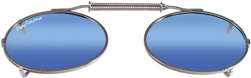 (Flying Fisherman Action Angler SpringLock Small Oval Shape Clip-Ons, Gunmetal Smoke/Blue Mirror Lenses)
