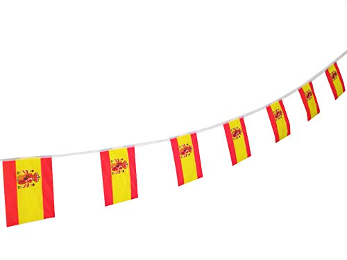 PortableFun Spain Banners Flags,100 Feet /90 Pcs Spanish Flag Banner String,Party Decorations for Grand Opening,Sports Events,Intarnational Festival,Olympics,Bar,Restaurants,Birthday,Carnival