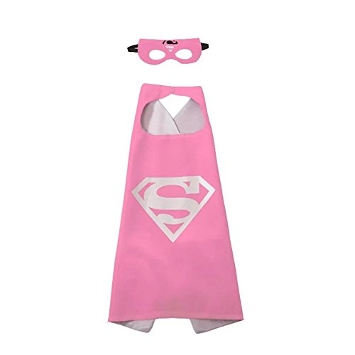 Darlene Chaplin Kids Dress up Cartoon Superhero Costume with Satin Cape and Matching Felt Mask (Color 22)