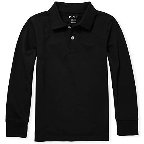 The Children's Place Big Boys' Long Sleeve Uniform Polo, Black, Medium/7/8