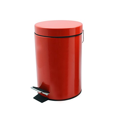 Harbour Housewares Bathroom Pedal Bin with Inner Bucket - 3 Litre Bin - Red Finish